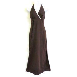 Esprit De Corp Dress Halter Maxi Brown Wht Trim M